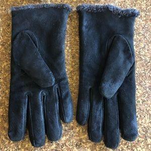 Aris Isotoner Black Suede Leather Gloves w/Fur